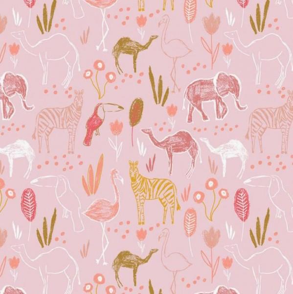 Baumwollpopeline, Safari rosa, waschbar bei 60°