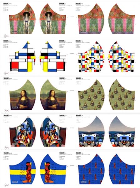 Maskenstoff Digitaldruck Mona Lisa&Co für 10 Masken, Paneel, Baumwollstoff