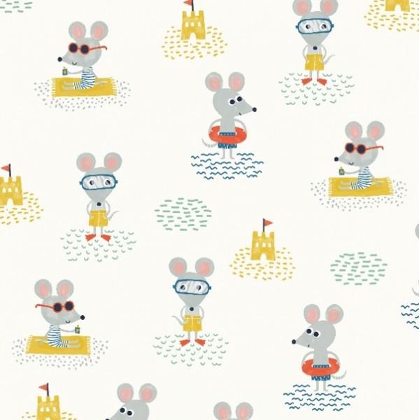 lillestoff, Beach-Mouse offwhite, Bio-Baumwollstoff