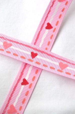 Herzen und Streifen, rosa, Ripsband *SALE*