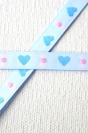 Herz.Punkt.Herz, blau-rosa, Webband