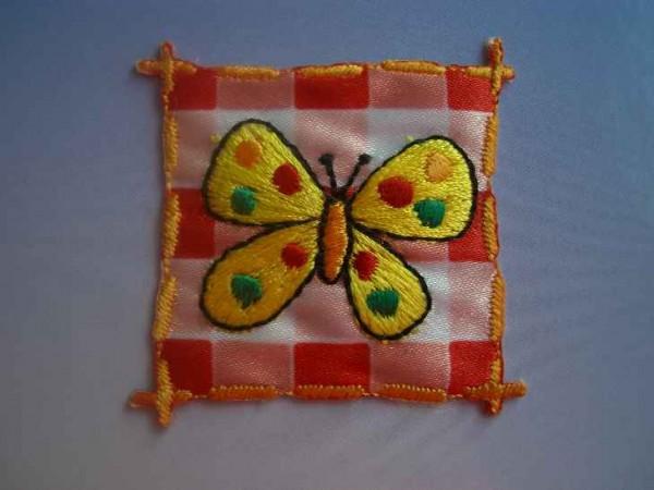 Applikation ~Schmetterling, gelb, auf Karo~