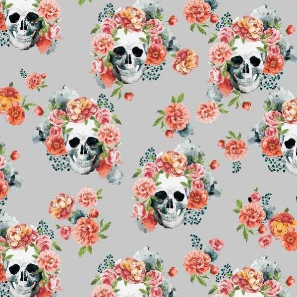 Blumen Skulls hellgrau, Webstoff