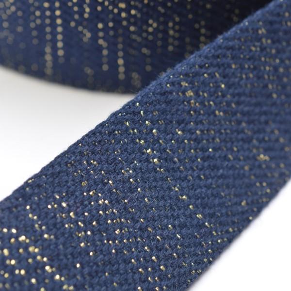 Gurtband, dunkelblau-gold lurex