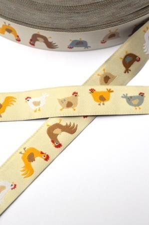 Hühner, beige, Webband
