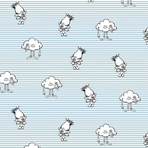 Trolls hellblau gestreift, Baumwolllstoff, waschbar bei 60°
