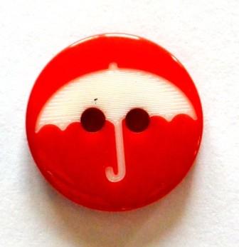 Regenschirm auf rot, Knopf