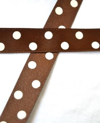 Satinband, polka dots, braun, 15 mm