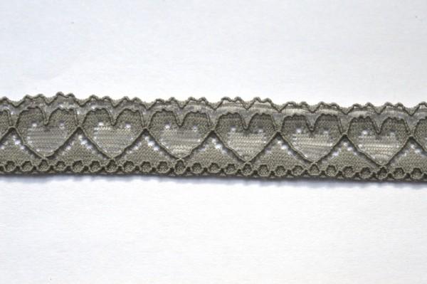 elastische Spitze mit Herzen, grau