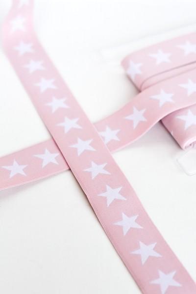 Gummiband breit, Sterne weiß auf rosé