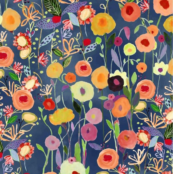 Sweat Digitaldruck, Floral Garden auf blau
