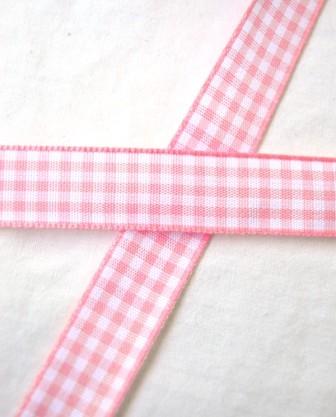 Stoffband, rosa kariert, 15 mm