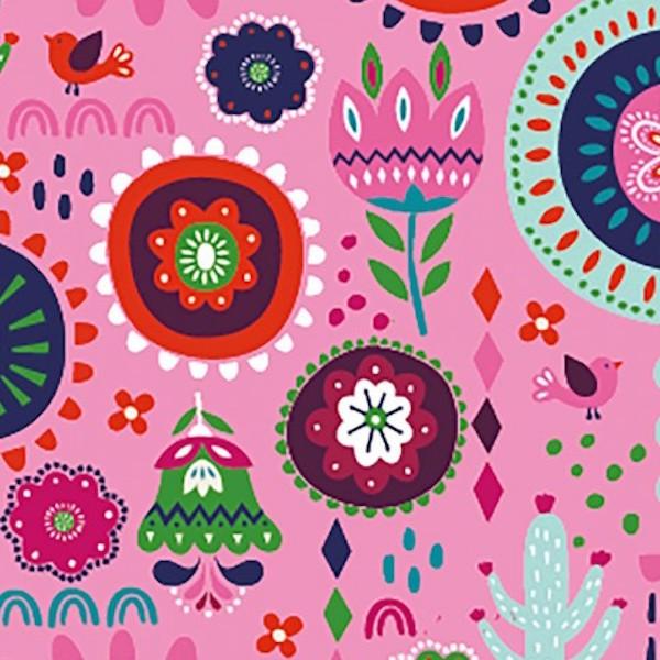 Boho-Flowers, pink, Jersey