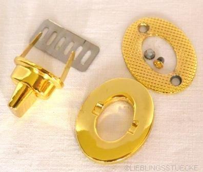 Drehverschluss, oval, klein, gold