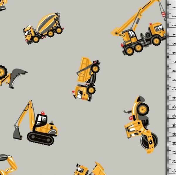 Baufahrzeuge auf hellgrau, Webstoff