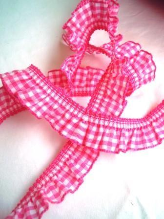 Rüschenborte, vichykaro, dunkles pink