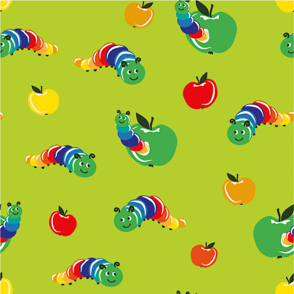 Bunter Wurm im Apfel, hellgrün, Jersey