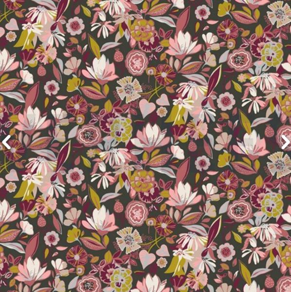 Modal-Jersey Bunte Blüten auf khaki