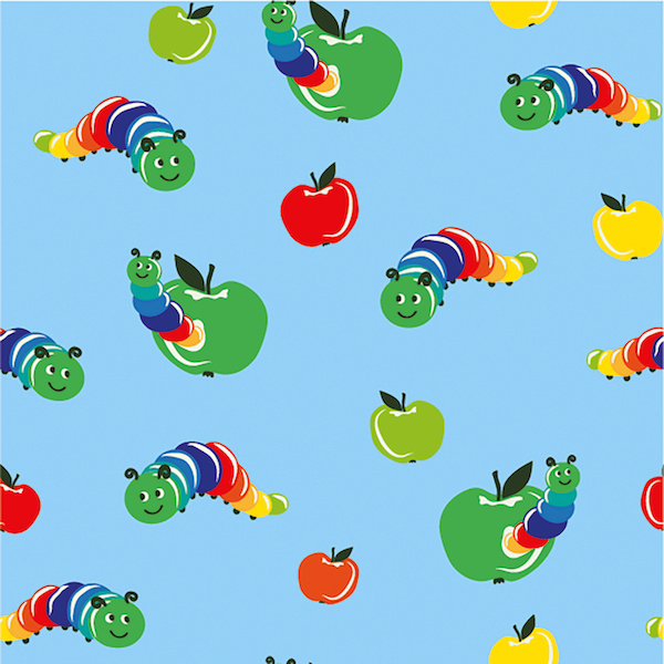 Bunter Wurm im Apfel, hellblau, Jersey