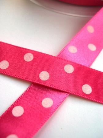 Satinband, polka dots, pink, 15 mm