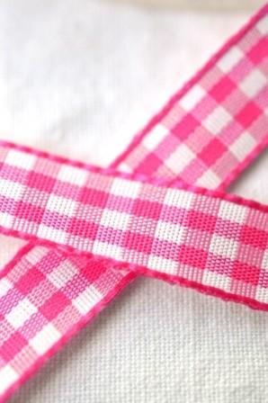 Stoffband, pink kariert, 10 mm