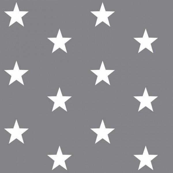 Lili Big Star weiß auf grau, Webstoff, waschbar bei 60°