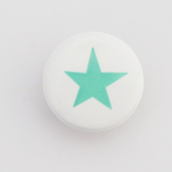 Druckknopf, Stern türkisgrün auf weiß, 10 mm