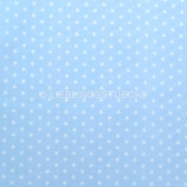 Lili Small Star weiß auf hellblau, Webstoff, waschbar bei 60°