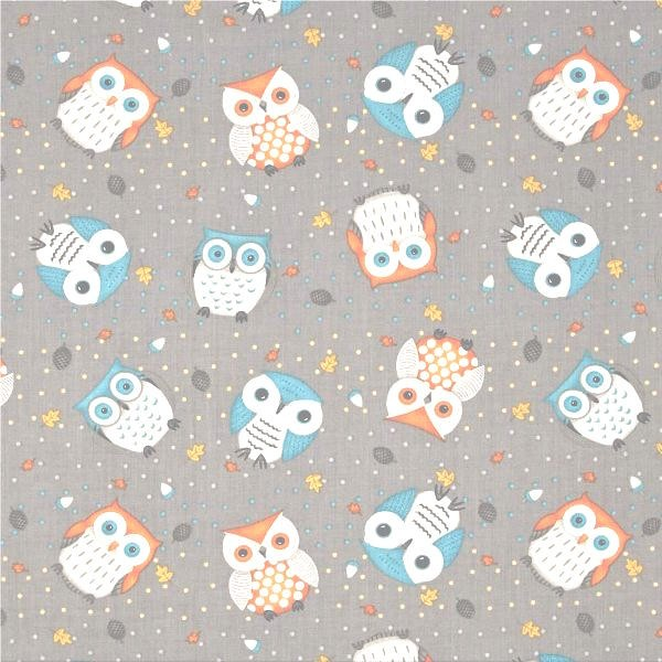 Cute Critters Owl Toss grey, Webstoff