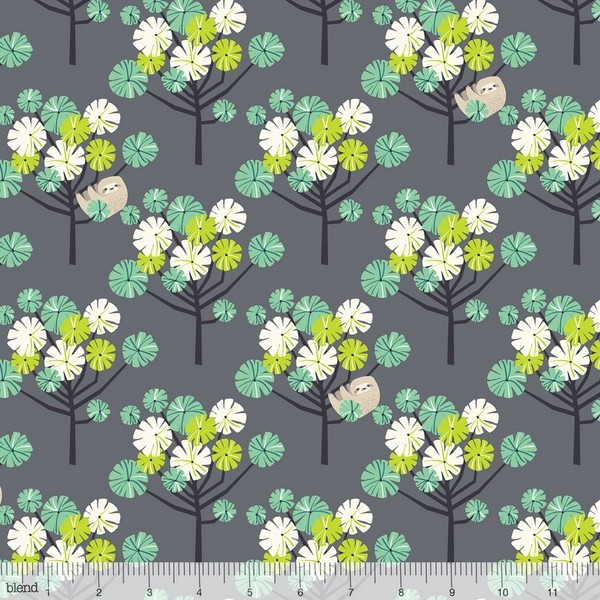 blendfabrics, Rainforest Slumber Tree Dwellers grün auf dunkelgrau, Webstoff
