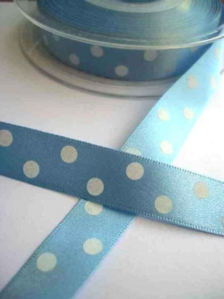 Satinband, polka dots, hellblau, 15 mm