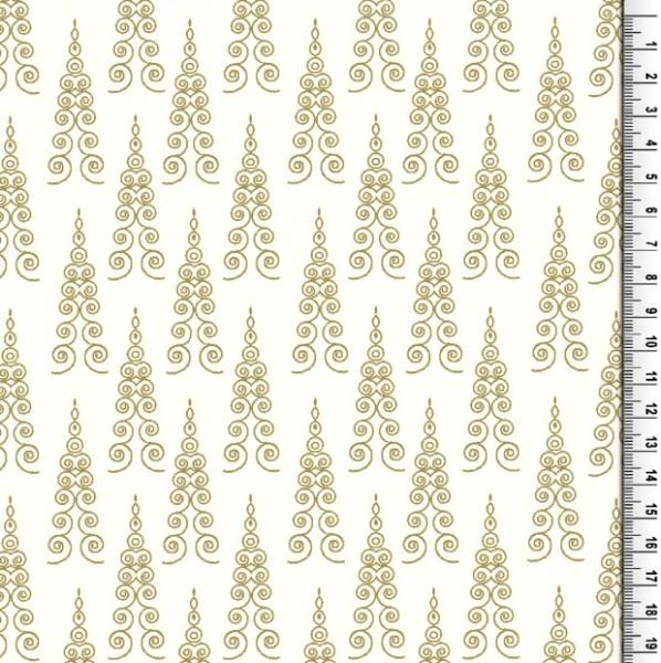 Xmas, Filigrane Bäume gold auf offwhite, Baumwollstoff