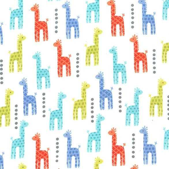 Michael Miller Mini Giraffes blau-orange-lime, Webstoff