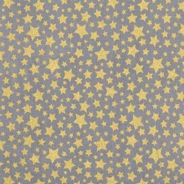 M.Miller Cat's Cradle Sterne gold auf grau, Webstoff