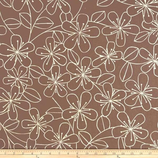 R. Kaufman, Flachs-Canvas Blumen taupe