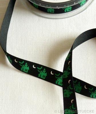 Schloß, schwarz-grün, Stoffband