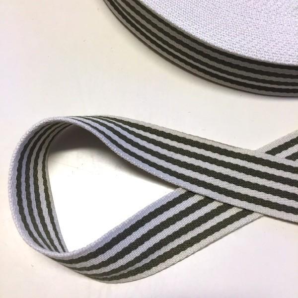 Baumwollgurtband gestreift, khaki-weiß, 4 cm