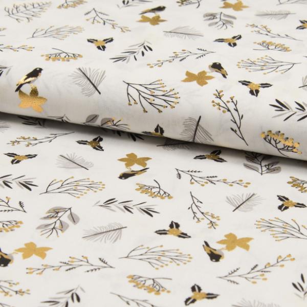 Goldvögelchen auf weiß, Baumwollstoff
