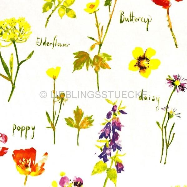 Dekostoff bunte Blumen auf weiß