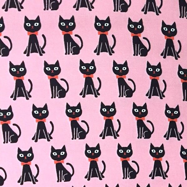 KOKKA Kätzchen schwarz auf rosa, Webstoff