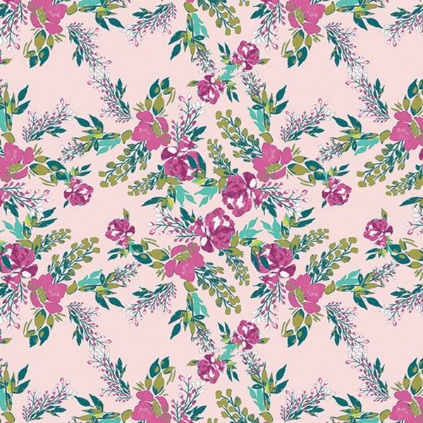 Art Gallery Virtuosa Blumen auf rosa, Jersey