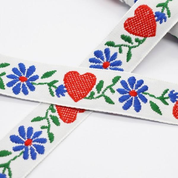 Tracht rote Herzen und blaue Blumen auf weiß, Webband