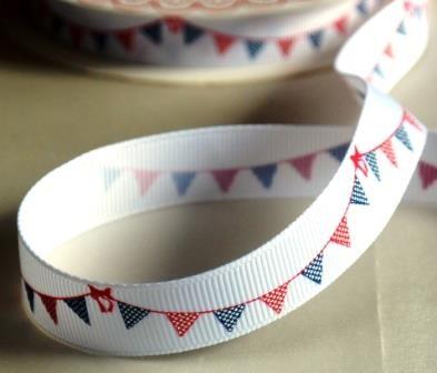 Wimpelkette, blau-rot, Ripsband *SALE*