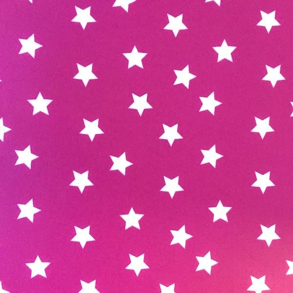 Laminat, große Sterne weiß auf zyklam