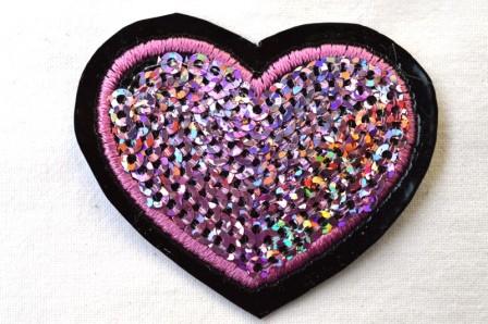 Applikation Herz mit Pailletten, pink
