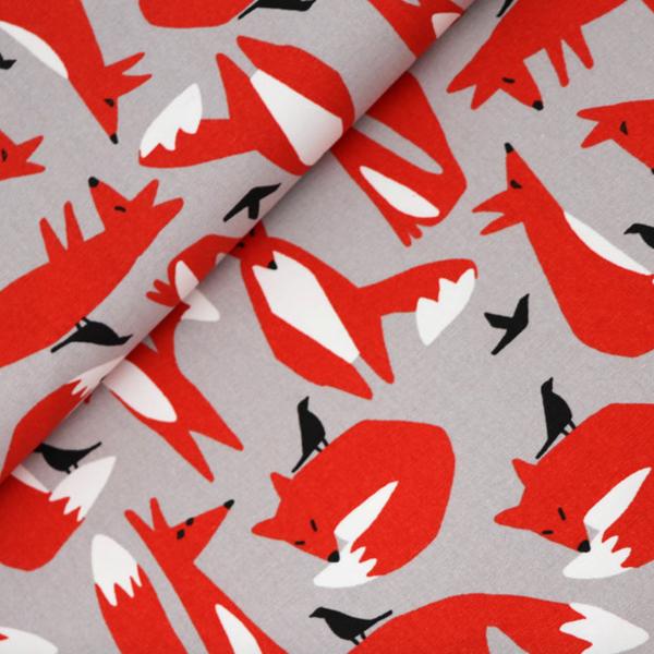 Wildlife Foxes, grau, Bio-Canvas