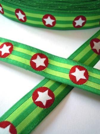 Sterne, grüngestreift, Webband *SALE*