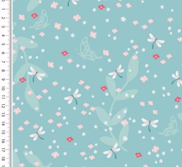 Libelle und Blumen, mint, Jersey
