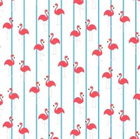 Swimming Stoff, Flamingos gestreift