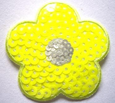 Applikation Blume, neongelb